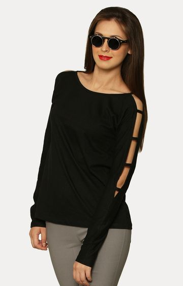 MISS CHASE | Black Show And Tell Ladder Sleeve T-Shirt