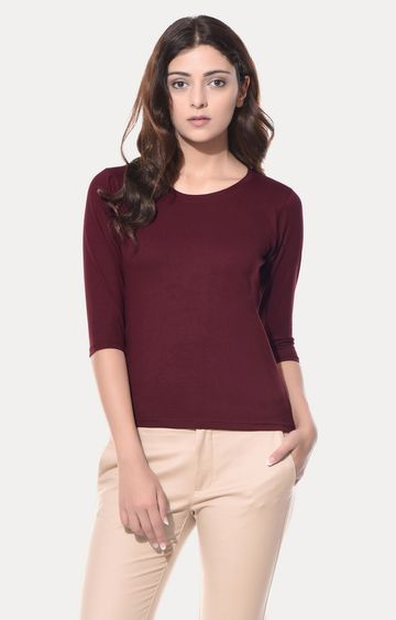 MISS CHASE | Maroon T-Shirt