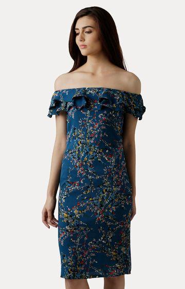 MISS CHASE | Multicoloured Off-Shoulder Knee-Length Bardot Ruffled Floral Shift Dress