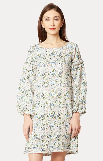 MISS CHASE   Multicoloured Round Neck Gathered Ruffled Floral Shift Dress
