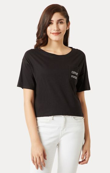 MISS CHASE | Black Solid Embroidered Pocket Boxy T-Shirt