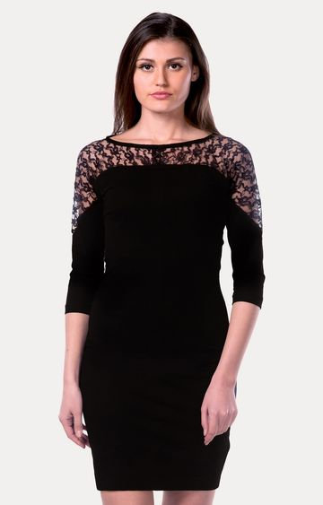 MISS CHASE | Black Lace Be Together Bodycon Dress