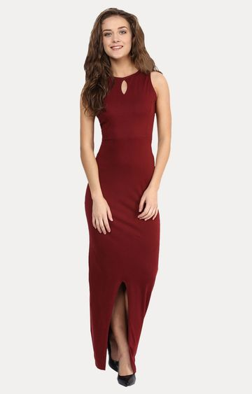 MISS CHASE | Maroon Take Back The Night Maxi Dress
