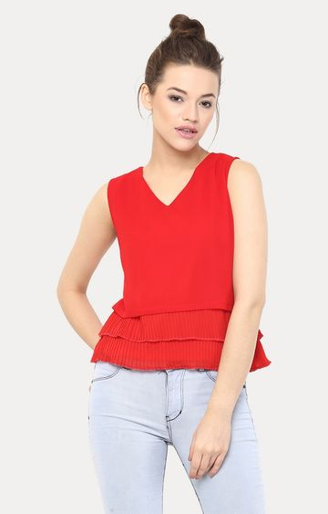 MISS CHASE | Red Be With Me Now Pleated Top