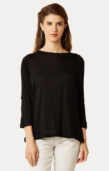 MISS CHASE   Black Round Neck Solid Cut Out Top