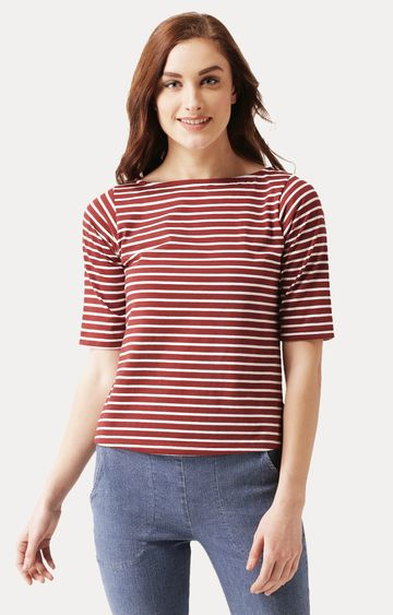 MISS CHASE | Maroon and White Boat Neck Solid Striped Top