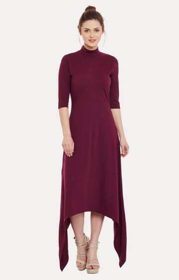 MISS CHASE | Magenta Solid Asymmetric Dress