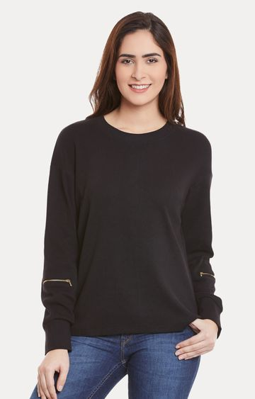 MISS CHASE | Black Solid Zip Sleeved Top