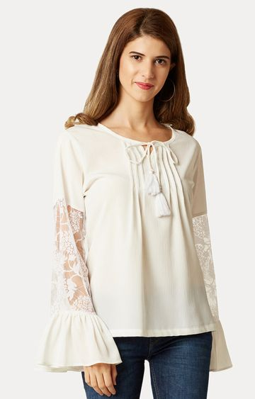 MISS CHASE | Off White Sheer Lace Top