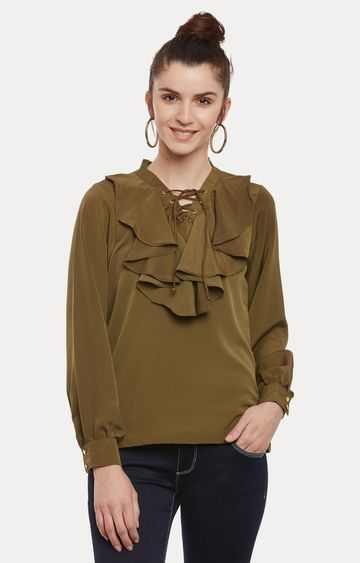 MISS CHASE | Olive Green Ruffled Solid Top