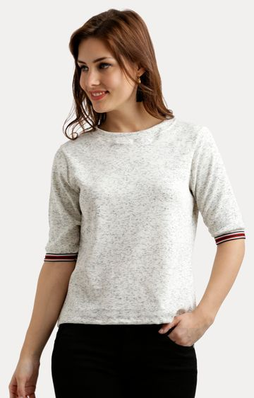 MISS CHASE   White Printed Basic Top