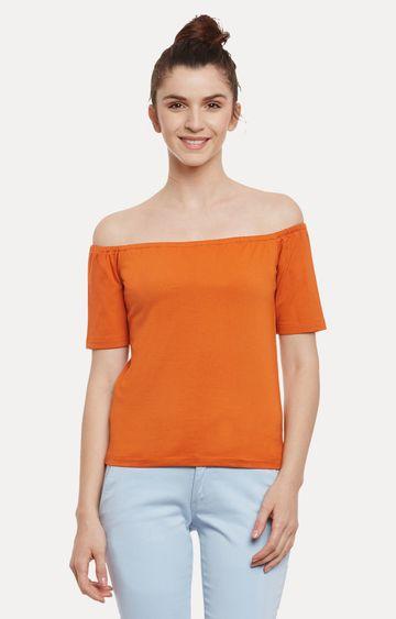 MISS CHASE | Orange Solid Off Shoulder Top