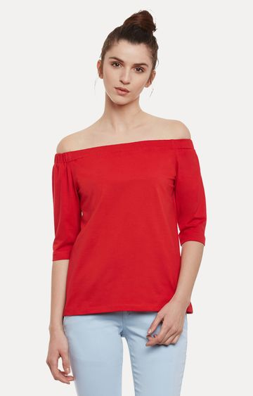 MISS CHASE   Red Solid Off Shoulder Top
