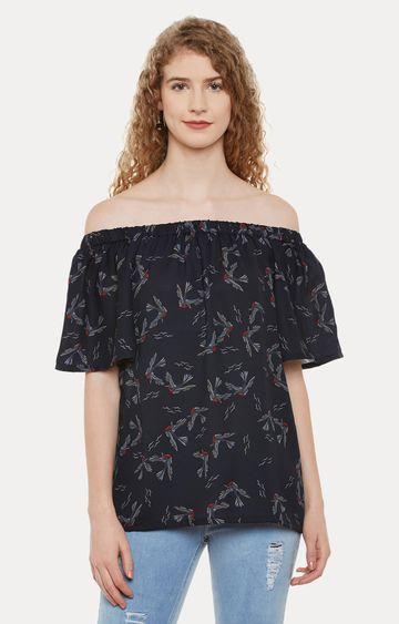 MISS CHASE | Black Printed Off Shoulder Dress