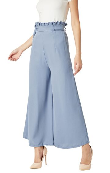 MISS CHASE | Blue Solid Pleated Wide Leg Paper Bag Trouser