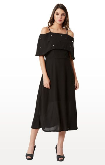 MISS CHASE | Black Solid Pearl Detailing A Line Midi Bardot Style Dress