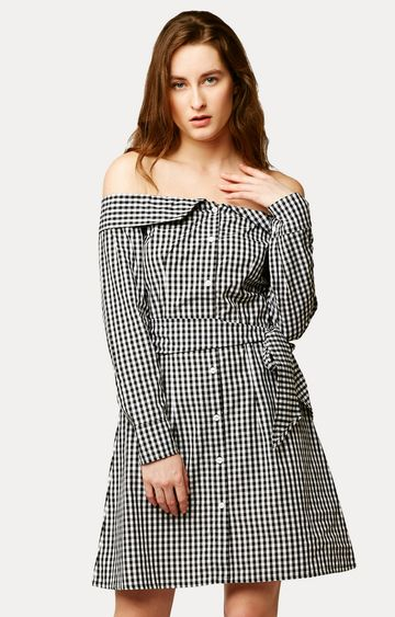 MISS CHASE | Black and White Checked Belted Off Shoulder Dress