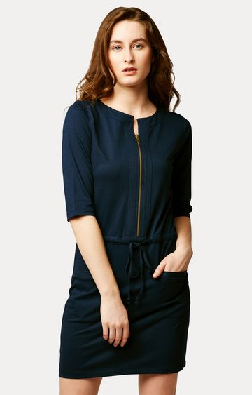 MISS CHASE | Navy Blue Solid Mini Shift Dress