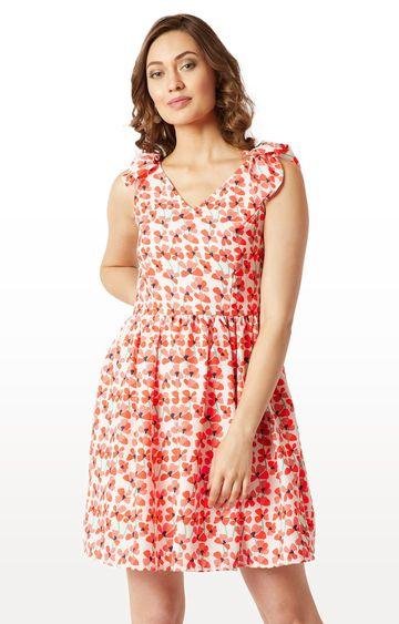 MISS CHASE | Multicoloured Floral Bow Detail Mini Skater Dress