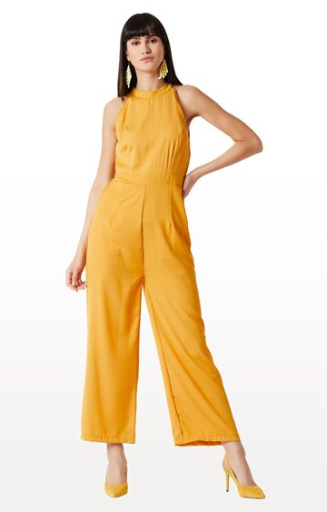 MISS CHASE | Yellow Solid High Neck Straight Leg Jumpsuit