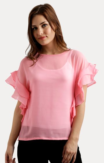 MISS CHASE   Pink Solid Layered Sheer Ruffled Top