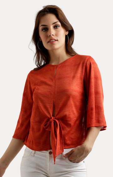 MISS CHASE   Orange Solid Front Slit Knotted Top