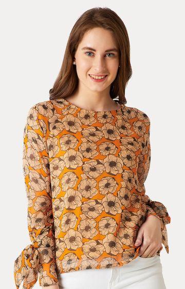 MISS CHASE   Orange Flared Paneled Floral Top