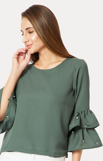 MISS CHASE | Green Solid Pearl Detailing Frilled Ruffled Top