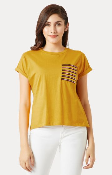MISS CHASE | Mustard Solid Twill Pocket T-Shirt