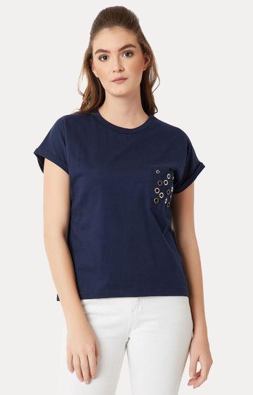 MISS CHASE | Navy Solid Eyelet Pocket T-Shirt