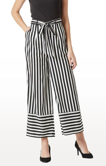 MISS CHASE | Black and White Striped Palazzos