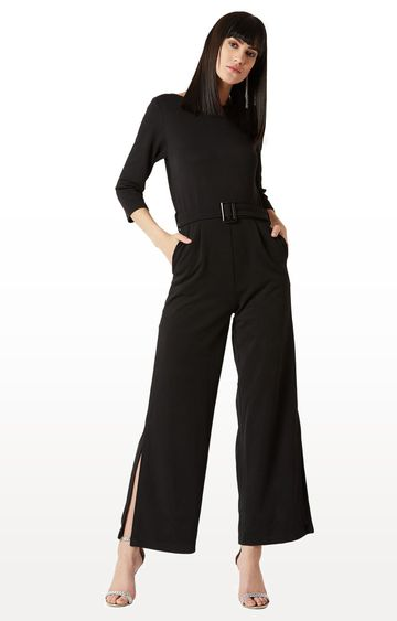 MISS CHASE   Black Solid Jumpsuit