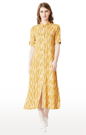MISS CHASE   Yellow Printed Side Slit Buttoned Shift Dress