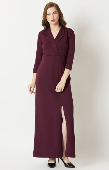 MISS CHASE | Wine Solid Maxi Dress