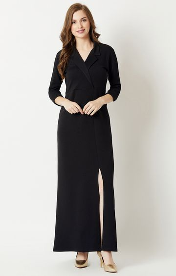 MISS CHASE | Black Solid Maxi Dress