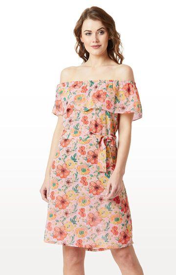 MISS CHASE | Multicoloured Floral Off Shoulder Mini Belted Bardot Style Dress