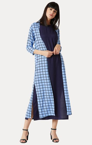 MISS CHASE   Blue Checked Maxi Dress