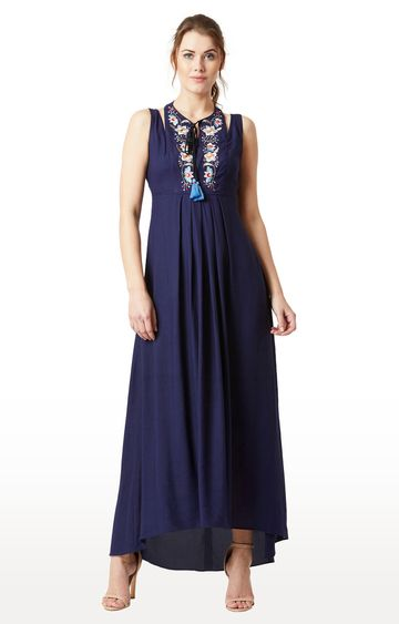 MISS CHASE | Navy Embroidered Maxi Dress