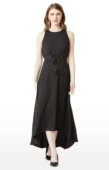 MISS CHASE | Black Solid Asymmetric Dress
