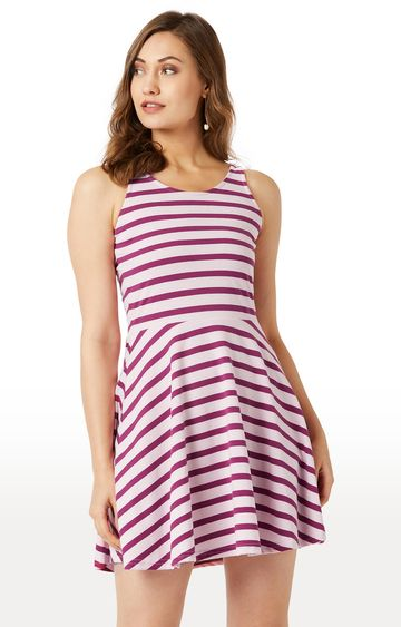 MISS CHASE | Maroon and Pink Striped Skater Dress