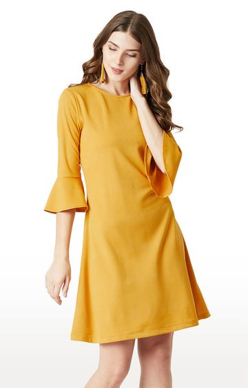 MISS CHASE | Mustard Solid Skater Dress