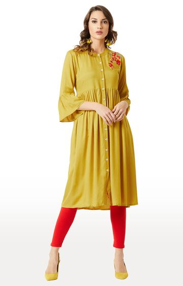 MISS CHASE | Mustard Embroidered Kurta