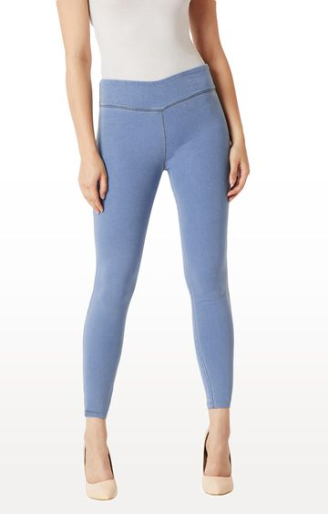 MISS CHASE | Light Blue Solid High Rise Clean Look Stretchable Denim Jeggings