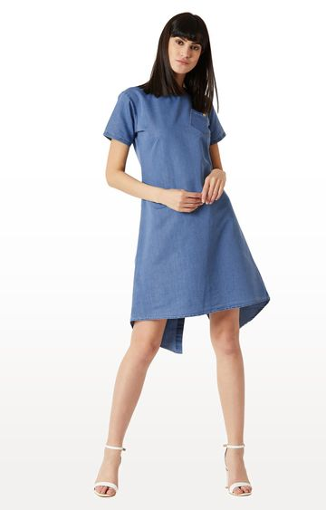 MISS CHASE   Blue Solid Cut Out Buttoned Knee Long Denim Dress