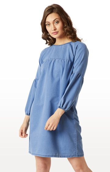 MISS CHASE   Blue Solid Ruffled Buttoned Knee Long Denim Dress