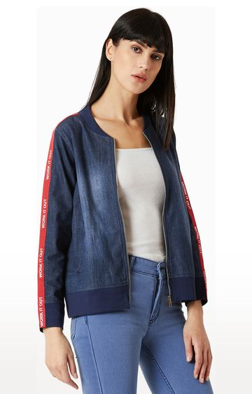 MISS CHASE | Blue Solid Bomber Jacket