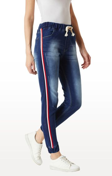 MISS CHASE   Blue Solid Mid Rise Regular Length Multicoloured Twill Tape Detailing Scraped Denim Stretchable Jogger Pants