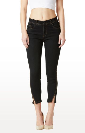 MISS CHASE | Black Solid Embellished High Rise Side Slit Length Stretchable Cropped Jeans