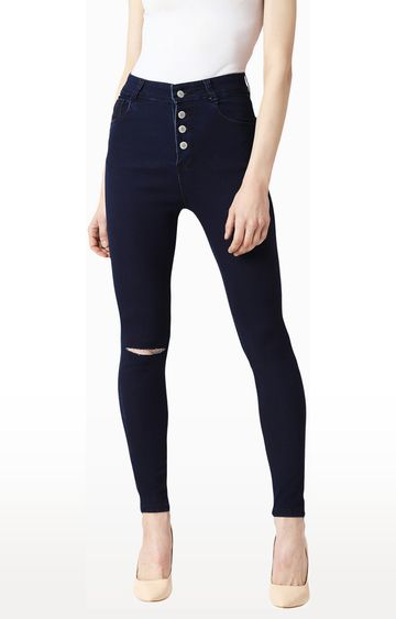 MISS CHASE | Navy Ripped Tapered Jeans