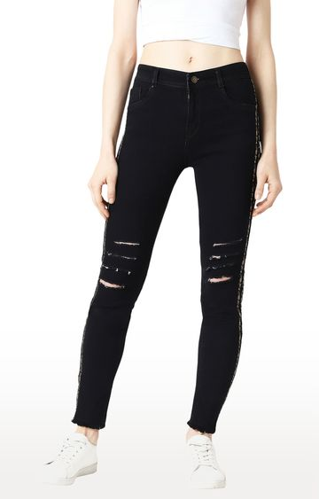 MISS CHASE   Black Ripped Skinny Fit High Rise Jeans